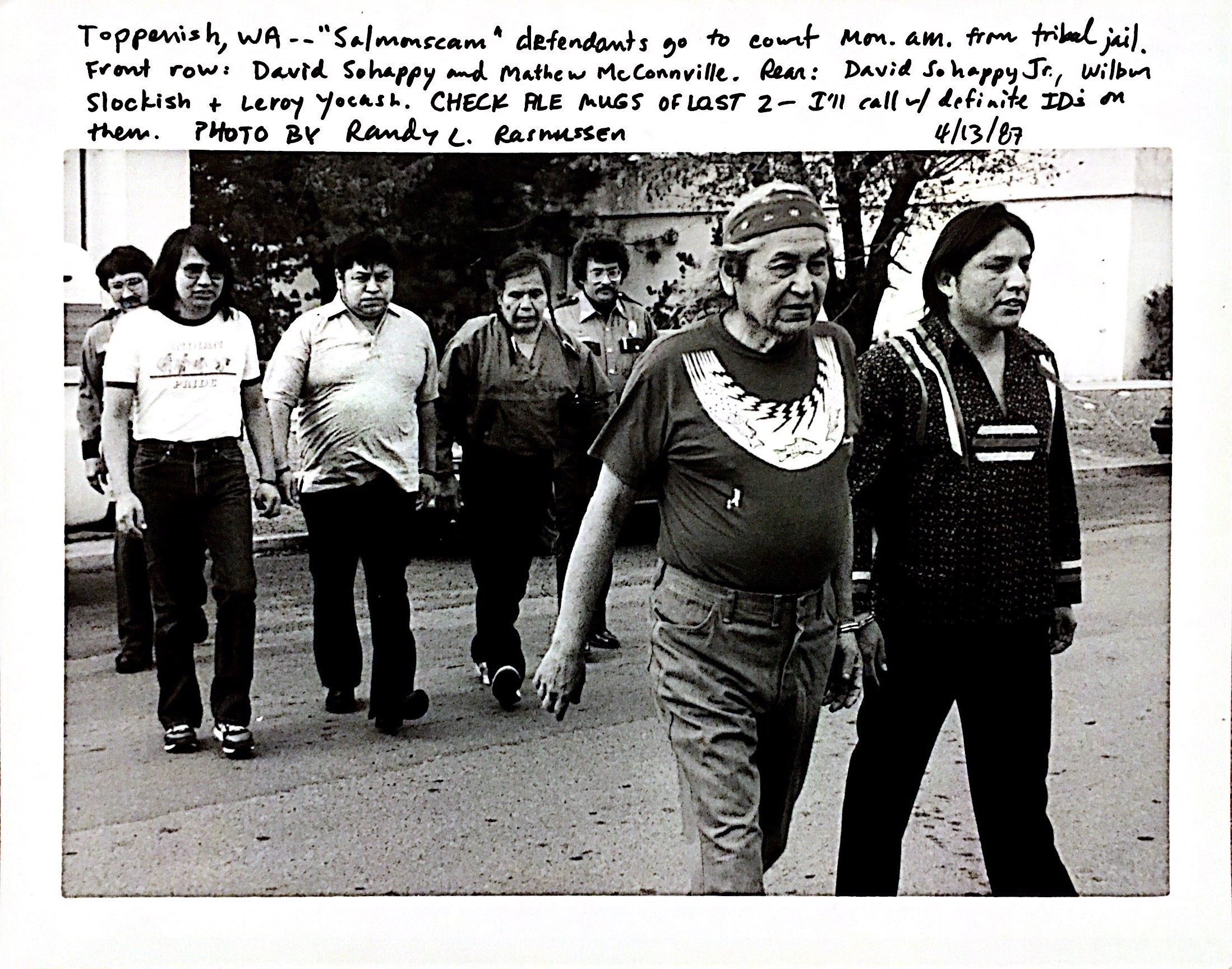 5 Fishers walk to Tradition on Trial at Yakama Nation Tribal Court 1987